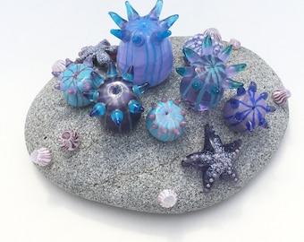 Glass Sea Anemone Garden Tiny Tidepool Sculpture Paperweight Lampwork Purple Lavender Turquoise OOAK SRA