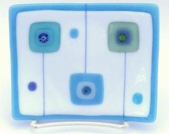 Sky Blue & White Fused Glass Dish, Mid Century Modern squares, Beach, Coastal Style, Bath Kitchen Decor, Jewelry, Soap Dish-Free US Shipping