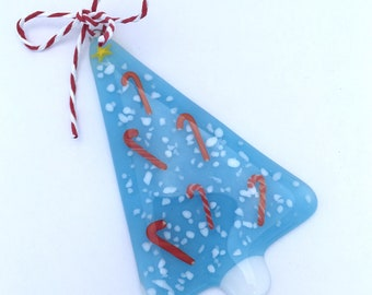 Fused Art Glass Christmas Tree Ornament Sky Blue w Candycanes