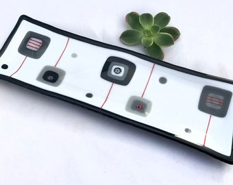 Black White Red Decorative Fused Glass Long Rectangle Plate Dish Mid Century Modern Squares Handmade