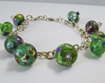 Charm Bracelet - The Greens - Handmade Lampwork Glass Beads on Silver Chain (B-99)