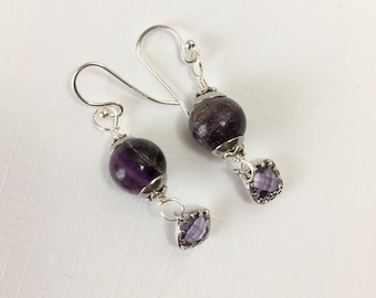 Amethyst Beads and Faceted Glass Gems Earrings on Silver Filled Ear Hooks (E-646)