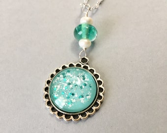 Nail Polish Necklace with Handmade Lampwork Glass on Sterling Silver Chain (NPN-19)