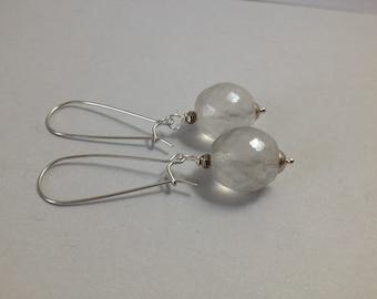 Frosted Glass Earrings on White Brass Kidney Ear Hooks (E-525)