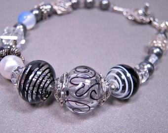Black and White Bracelet - Handmade Lampwork, Pearls, Sterling Silver (B-61)