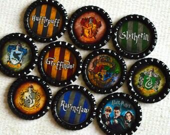 Harry Potter Magnets- Hogwarts Bottlecap Magnets- Hufflepuff, Gryffindor, Ravenclaw, Slytherin- Hogwarts Houses- Harry Potter Gift- Magnets