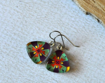 Talavera Dangle Earrings- Glass Titanium Earrings- Made from Upcycled Paper- Southwest Earrings- Mexican Jewlery- Hypoallergenic Dangles