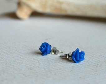 Blue Rose Earrings- Titanium Earrings Studs- Small Dark Blue Flower Posts- Hypoallergenic Earrings- Great For Sensitive Ears- Girl Birthday