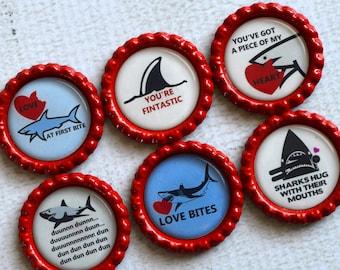 Love You Gift- Shark Love Magnets- Anniversary Gift- Gift for Her- Gift for Him- Relationship Gift- Shark Decor- Office Magnets- Funny Gift