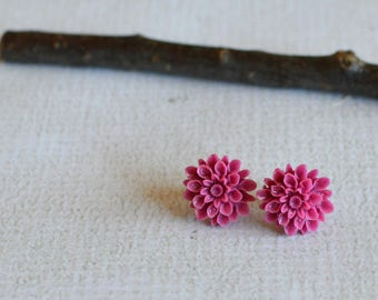 Dark Pink Flower Earrings- Titanium Flower Studs- Pink Posts- Titanium Earrings- Dahlia Flower Earrings- Hypoallergenic Studs- Girl Gift