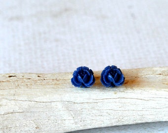 Blue Rose Earrings- Royal Blue Flower Studs- Titanium Studs- Blue Titanium Earrings- Royal Blue Jewelry- Titanium Flower Post Earrings