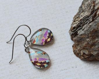 Tie Dye Stripe Dangle Earrings- Artsy Glass Tear Drop Earrings- Recycled Titanium Earrings- Vibrant Titanium Dangles- Hypoallergenic- OOAK