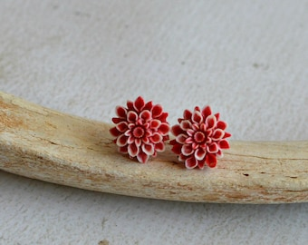 Red and White Flower Earrings- Titanium Flower Studs- Red and White Posts- Titanium Earrings- Dahlia Flower Earrings- Hypoallergenic Studs