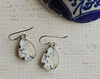 Titanium Dangle Glass Earrings- Tie Dye Purple and White Earrings- Teardrop Dangles- Upcycled Earrings- Tie Dye Gift, Paper Dangles