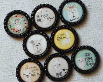 Llama Magnet Set- Refrigerator Magnets- Llama Alpaca Gift, Llama Party, Llama Birthday, Llama Decor, Funny Office Magnets- Gift under 10