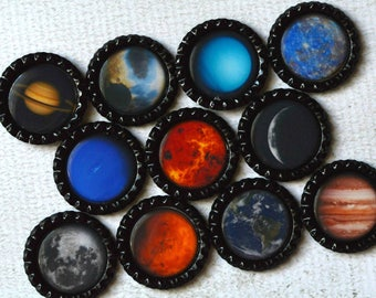 Planet Bottlecap Magnets- Solar System, Astronomy, Cosmic, Science Fridge Magnets- Kid Gift, Teacher Gift, Homeschool Classroom Magnets