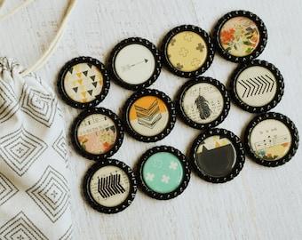 Boho Southwest Bottlecap Magnets- Tribal, Arrow,  Aztec, Feather Magnets- Southwest Tribal Decor- Strong Kitchen Magnets- Boho Kitchen, Gift