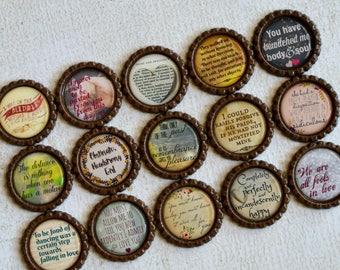 Pride & Prejudice Bottlecap Magnets- Book Lover Decor- Jane Austen Quotes- Mr. Darcy- Bookworm, Bookish, Literary Gift- Bookworm Magnets