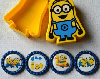 Minion Bottlecap Magnets- Minion Birthday- Minion Gift- Locker or Fridge Magnets- Kid Magnets- Kid Gift- Despicable Me- Set of 4 with Box