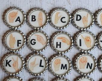 Sign Language Alphabet Magnets- ASL Alphabet Gift- Learning Gift- Alphabet Learning- Classroom Magnets- Teacher Magnet Gift- Homeschool