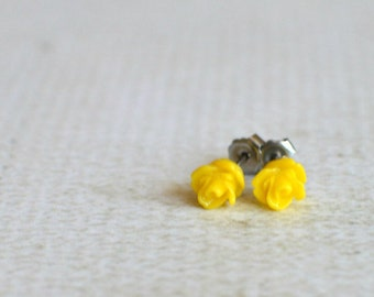Tiny Yellow Rose Earrings- Flower Titanium Studs- Small Yellow Flower Earrings- Yellow Rose Studs- Great For Sensitive Ears- Hypoallergenic