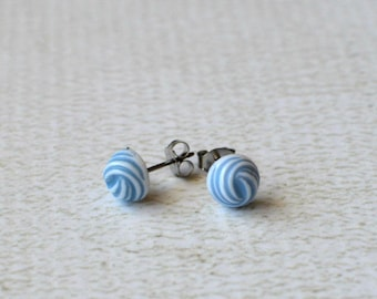 Titanium Earrings- Blue and White Swirl Earring Posts- Vintage Titanium Studs- Light Blue Earrings- Small Studs- Great For Sensitive Ears