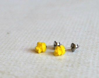 Yellow flower studs etsy tiny yellow rose earrings flower titanium studs small yellow flower earrings yellow rose studs great for sensitive ears hypoallergenic mightylinksfo