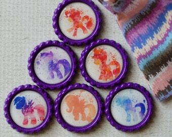 My Little Pony Magnets- MLP Bottlecap Magnets- Watercolor Ponies- Girl Birthday- Rainbow Dash, Pinkie Pie, Apple Jack, Twilight Sparkle