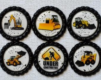 Construction Vehicles Bottlecap Magnets- Boy Magnets- Birthday Party Favors- Under Construction- Boy Gift- Digger, Backhoe, Excavator