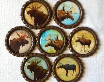 Moose Bottlecap Magnets- Rustic Home Decor- Lake House, Cabin, Log Cabin, Outdoor, Mountain, Lodge Decor- Fridge Magnets- Wildlife Magnets
