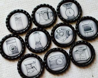 Vintage Home Decor- Retro Appliance Bottlecap Magnets- 1950-1960's- Retro Kitchen Decor- Set of 10 Strong Magnetsp- Kitchen Fridge Magnets