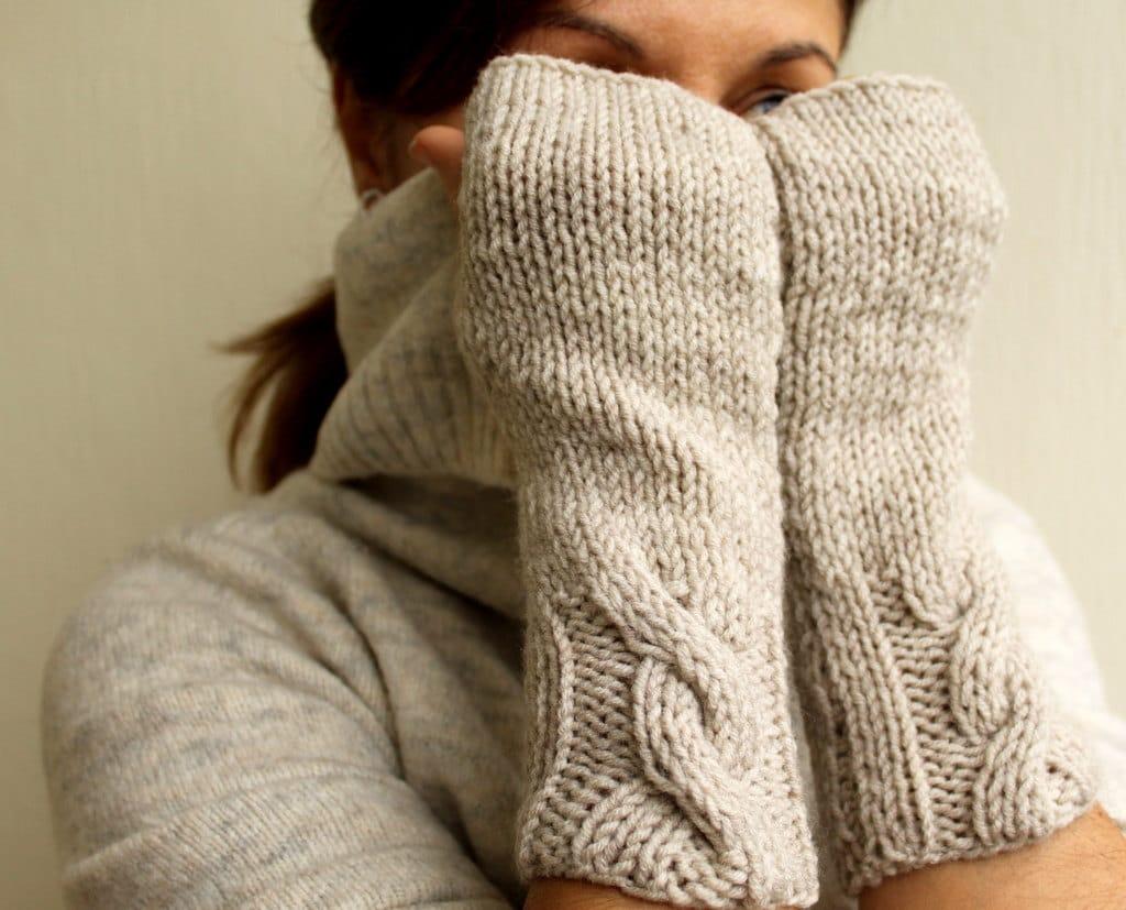 Fingerless Gloves, Winter Accessories, Vanilla Oatmeal Wheat Cable Knit Mittens, Warm Gloves, Women Mittens, Gloves, Handwarmer Sister Gift