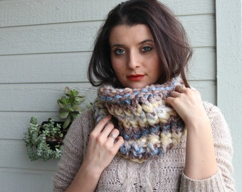 Chunky Thick Cowl Scarf,  Brown Cream Blue Multi Color Cowl, Hand Knit Women's Scarves