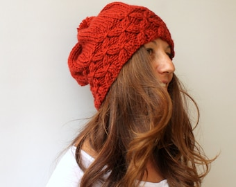 Slouchy Beanie, Pom Pom Hat, Knitted Hat, Terracotta Winter Hat, Brick Burnt Beret