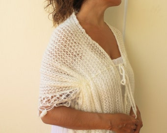 Lace Shawl Cream Mohair Knit