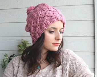 Winter Hat, Dust Rose Pink Sparkle Chunky Baggy Beanie, Knitted Hat, Women Beanie, Gift For Her