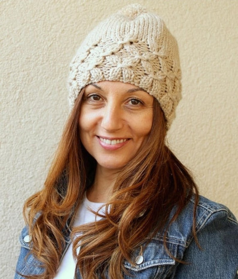f87acf00f4427 Women Knit Hat Pom Pom Hat Hand Knitted Hat Autumn Slouchy