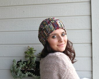 Women Gift, Knitted Slouchy Beanie, Multi Color Winter Hat, Pom pom Hat, Warm Beret, Christmas Gift