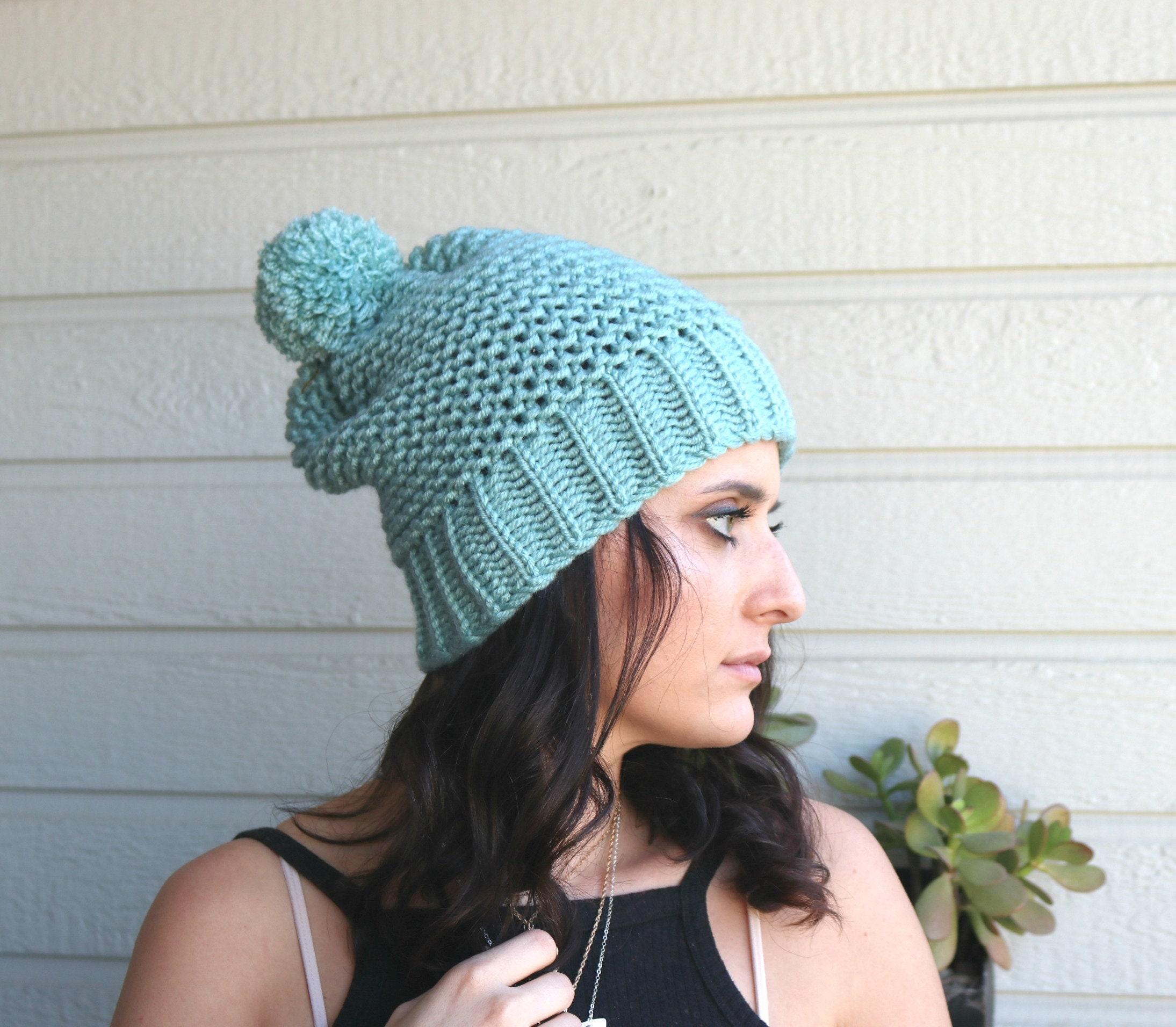 d6d2b5e73ae Slouchy Beanie Mint Blue Winter Hat Women s Hat Pompom