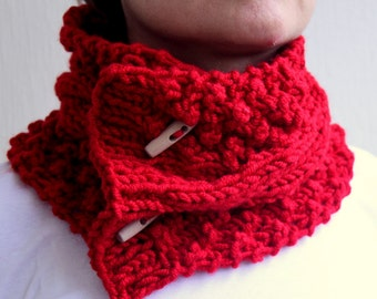 Red Cable Chunky Cowl  Scarlet Pomegranate Apple  Neck Warmers Scarf With Buttons