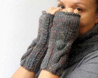 Knit Fingerless Gloves, Melange Grey Gloves, Cable Knitted Fingerless Mittens,  Winter Gloves, Gift For Her, Christmas Gift For Best Friend