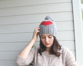 Red Heart Grey Slouchy Beanie, Gray Winter Hat, Pompom Hat, Warm Beret, Christmas Gift