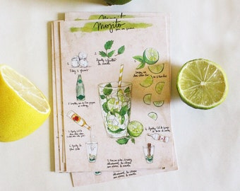 "Postcard - Illustrated recipe - cocktail - Kitchen Wall decor - Food art - Kitchen art - ""Mojito"""
