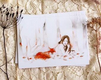 """Postcard - Illustrated postcard - fox postcard - """"Le rendez-vous"""""""