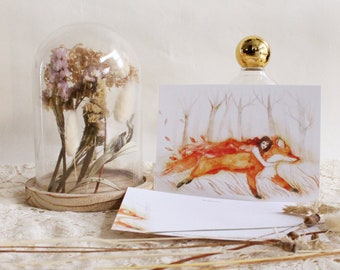 "Postcard - Illustrated postcard - fox postcard - Fox lover - ""Instant Love"""""