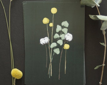 "Postcard - botanical drawing - flower - eucalyptus - craspedia - coton flower - bohemian - ""Flora Black"""