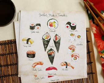 "Postcard - Illustrated recipe - Japanese food - Kitchen Wall decor - Cooking - Food art - Kitchen art - ""Sushis, makis, terimakis"""