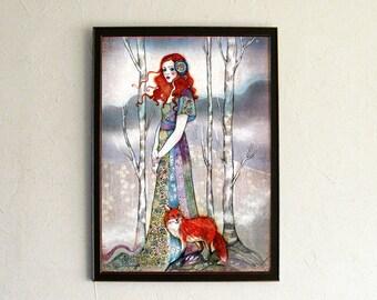 Print - poster - affiche - Fox illustration - Forest Girl - ginger - The Guide