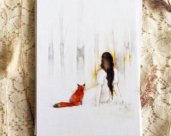 """Postcard - Illustrated postcard - fox postcard - """"L'Aube"""""""