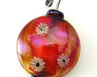 Lampworked glass hot pink focal bead pendant